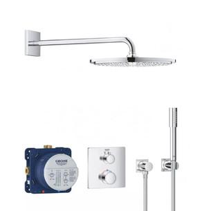 système de douche encastré Grohtherm façade carrée