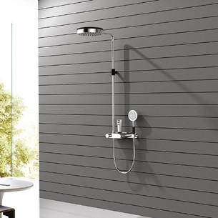 Colonne de douche thermostatique Chrome/PVD Noir Mat Brossé Addict de Paini