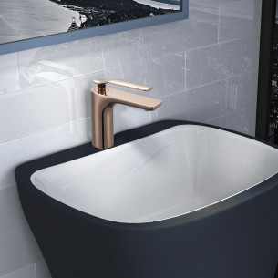 Mitigeur lavabo bas Addict de Paini France en PVD Gold Rose