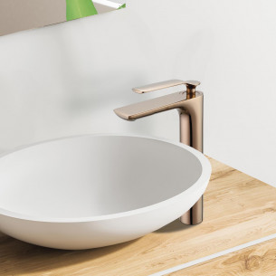 Mitigeur lavabo haut Addict de Paini France en PVD Gold rose
