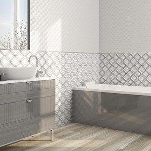Collection Quabbella par Tau Ceramica en coloris White et Royalblue