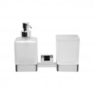 Double porte-verre et distributeur de savon à fixer Cubo de Inda