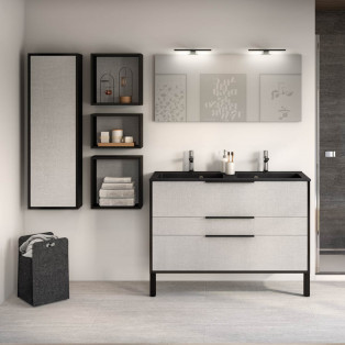 Meuble de salle de bains Ultra Cadra largeur 120 centimètres avec 2 coulissants et 1 tiroir sur pied de la marque Delpha