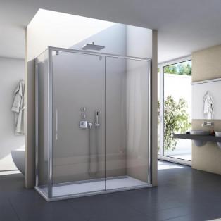 paroi de douche design et tendance avec porte coulissante 2 volets SanSwiss PLS2 + PLST