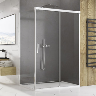 Paroi de douche avec porte coulissante Ophalys finition profilé poli brillant et verre transparent par la marque SanSwiss