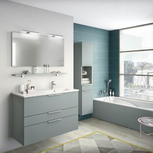 Meuble de salle de bains faciles à intégrer Collection Delphy Graphic 104 vert aloé mat
