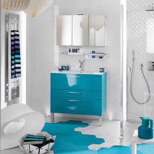meubles de salle de bains Delpha collection Unique modèle bleu 90 cm