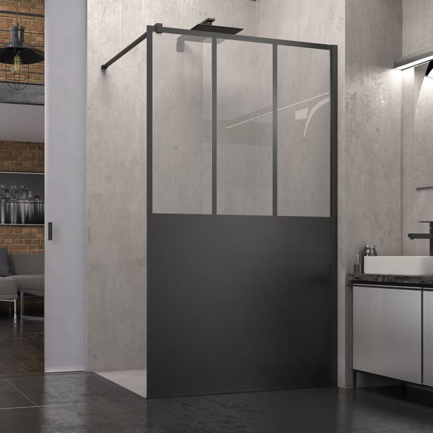 Paroi de douche fixe walk-in Atelier Noir mat de SanSwiss