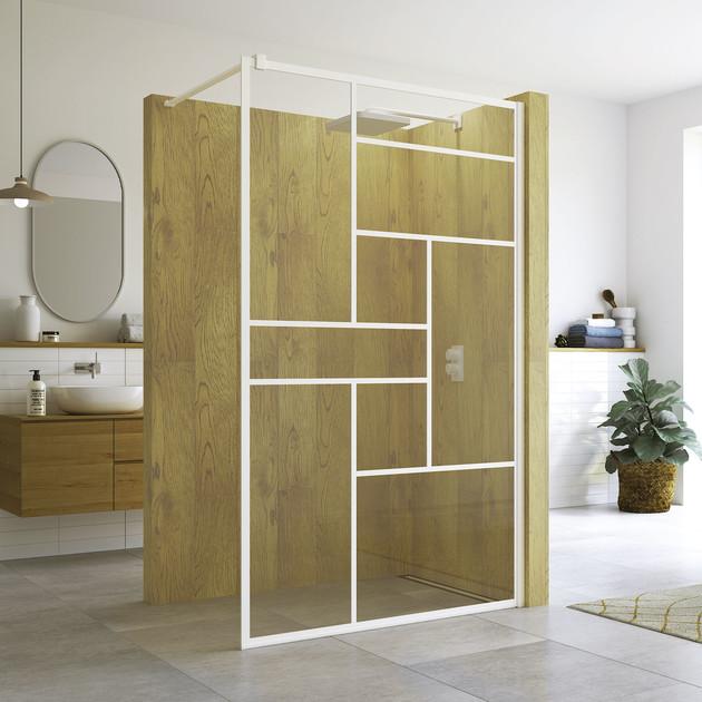 Paroi de douche fixe avec covering Loft 73 blanc mat de la marque SanSwiss