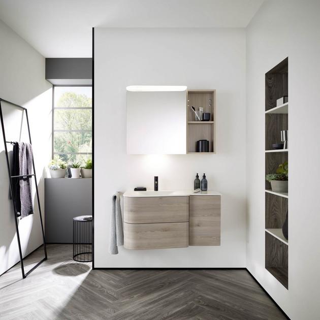 Meuble de salle de bain Badu finition thermoformé Chêne, décor Flanelle de Burgbad 1