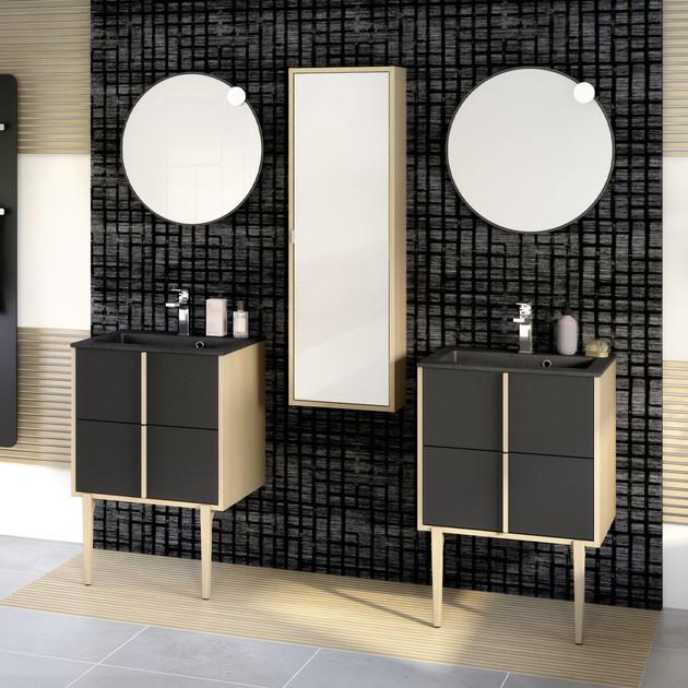 Meuble de salle de bains Evasion largeur 60 centimètres avec 2 coulissants coloris Noir mat et corps de meuble décor chêne doré structuré de la marque Delpha
