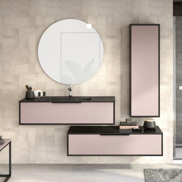 Meuble 1 coulissant Ultra Cadra largeur 120 cm coloris Rose pastel mat et corps de meuble Noir mat par Delpha