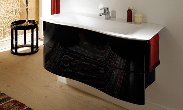 Meubles salle de bains noirs brillants burgbad ella espace aubade - Meuble de salle de bain noir brillant ...