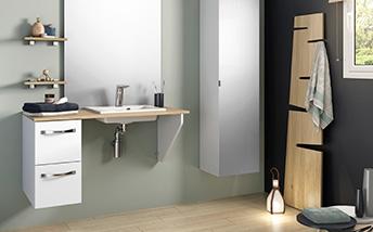 Salle de bains aide à la mobilité réduite lavabo PMR